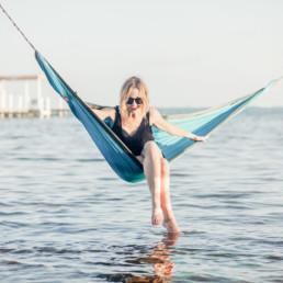 Lisa Breckenridge beach hammock in Belize