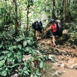 Lisa Breckenridge hiking with family in Belize