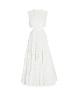 Cassia Embroidered Linen Midi Dress