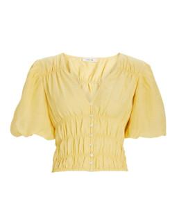 Frame | Julianne Smocked Puff Sleeve Top